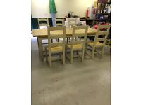 Oak shabby chic dining table