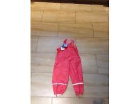 Girls waterproof trousers dungarees 2-3 years