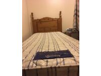 Solid pine bed and mattress