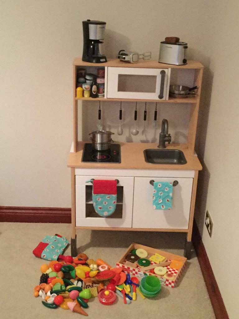 Children wooden toy kitchen with huge bundle of accessories including working kitchen set