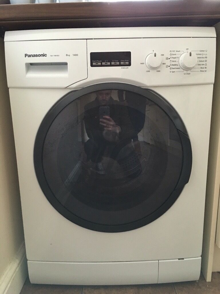 Panasonic washing machine (model NA 148VB3) 8kg 1400 spinin Ipswich, SuffolkGumtree - Panasonic washing machine is excellent condition, with full instruction booklet. Stylish/smart smoked glass door. Loads of washing cycles to choose from and up to 1400 spin and 8kg drum. Model NA 148VB3, and the Panasonic quality youd expect