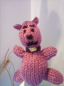 Pink bear hand knitted safety stuffing. REDUCED