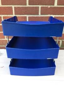 A4 blue Letter Trays + Risers Stackable Desk Document Paper Organiser