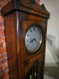 antique oak grandfather longcase clock
