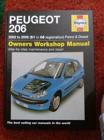 Haynes manual peugeot 206 2002 - 2009 petrol and diesel models