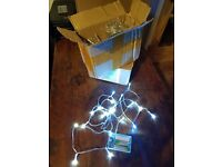 15 sets of LED string lights with constant and flash mode. Battery operated