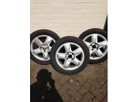 Clio Wheels and tyres. Three 15 inch wheels 2 with well worn tyres and 1 with good tread.