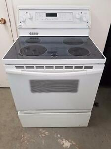Kitchen aid white lass top stove FREE DELIVERY AND INSTALL