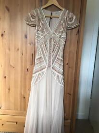 Nude embellished maxi dress