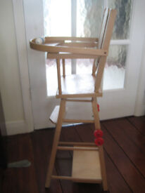 Vintage 1970's Wooden Toy Baby High Chair. Converts to table and chair. Very Good Condition