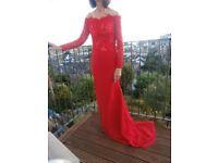 Ladies long red evening dress