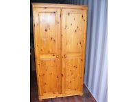 CAN DELIVER - PINE WARDROBE WITH MIRROR INSIDE IN GOOD CONDITION