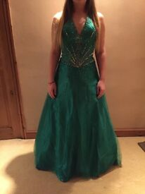 Green halter neck prom dress with beaded waist detail, size 6-8