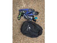 Scuba diving gear - bag, fins, mask, boots, gloves, snorkel