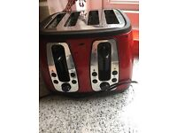 Russel Hobbs toaster, red kettle and dish drainer