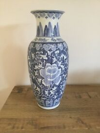 Chinese Vase in Blue and White Design