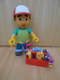 Handy Manny talking figure with toolbox and tools