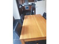 John Lewis wooden table and 4 leather chairs