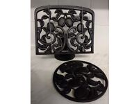Cast iron cookbook stand & pan stand
