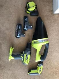Ryobi 18v drill/driver with hammer function, vacuum and screwdriver with 2 x 18v batteries
