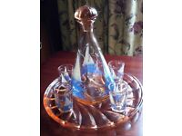 Decanter with glasses on tray