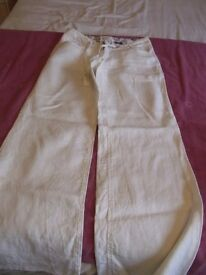 LADIES LINEN TROUSERS - BEIGE - SIZE 8