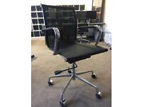 Contemporary Chrome and black Fabric Office Chairs X 4