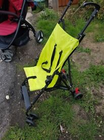 Mothercare lime green/black lightweight/holiday pushchair/stroller