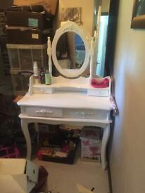 Girls white dressing table and chair
