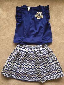 Monsoon kids top & skirt set 11yrs