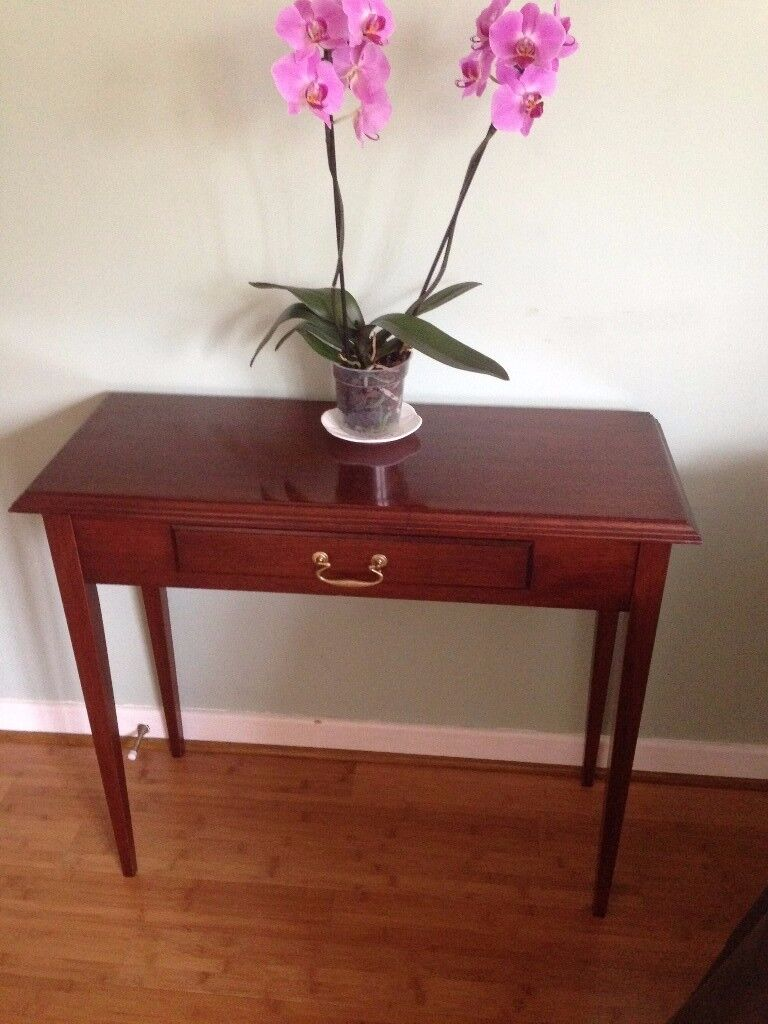 Side Table / Desk / Dressing Table all solid mahogany wood, has one drawer VGC Macclesfield area