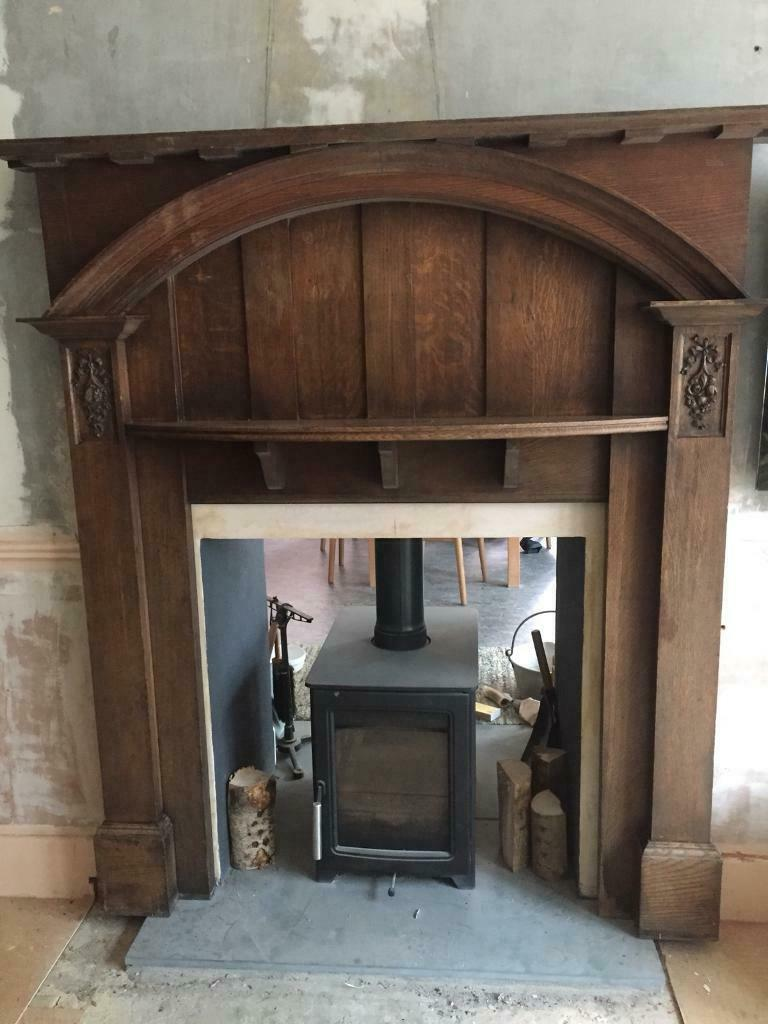 Edwardian Oak 1920 S 30 S Arts And Crafts Fireplace Surround In