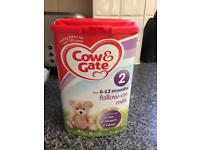 Cow and gate follow on milk and pudding jars