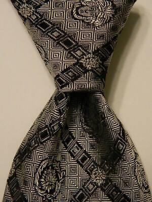 GIANNI VERSACE Men's Silk XL Necktie ITALY Luxury Designer MEDUSA Gray/Black EUC