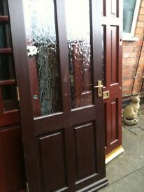 Exterior hardwood door with 2 crazed glass panels