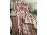 Pale pink velvet extra long curtains 300cm x 250cm
