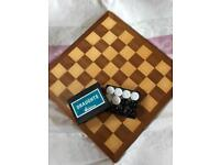 Chess & Draughts Board with Set of Draughts