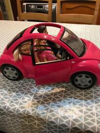Barbie beetle car and dolls