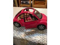 Barbie beetle car and dolls