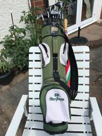 MacGregor golf bag & VIP Century Golf Clubs & Umbrella.
