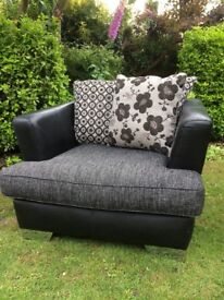 DFS sofa, chair and storage footstool