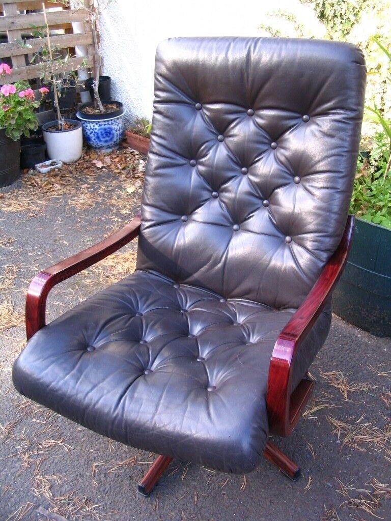 Scandinavian Danish Swedish Leather Swivel Lounge Chair Bentwood Sling Armchair Bent Chair 1960 S In Wester Hailes Edinburgh Gumtree