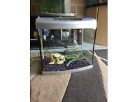 55l fish tank Aqua 65 full set up with filter heater light gravel ornament all work in pic