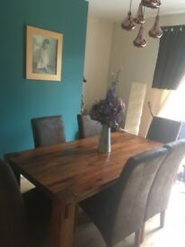 Harvey's Dining Table and Chairs. Kashmir sheesham wood