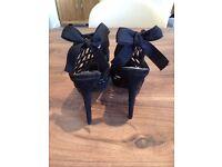 Dune Black Bow Back High Heel Sandel, UK Size 5.