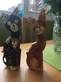 Two lovely wooden cats