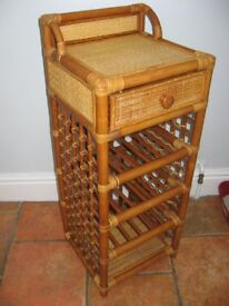 Rattan 12 Wine Rack with drawer