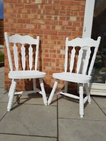 Two White Solid Pine High-backed Chairs