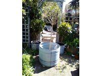 Very large/huge galvanised steel raised planter drum garden pot tub barrel plant holder