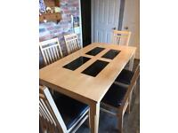 Maple dining table and chairs